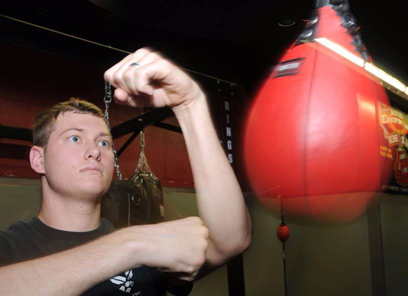 a speed bag session