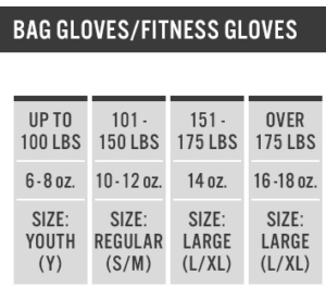 heavy bag gloves sizing chart